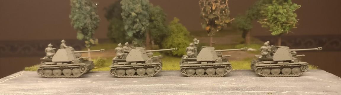 Vier Marder III Ausf. H / Sd.Kfz. 138  aus dem Set 15mm Panzer 38t with Marder options von PSC