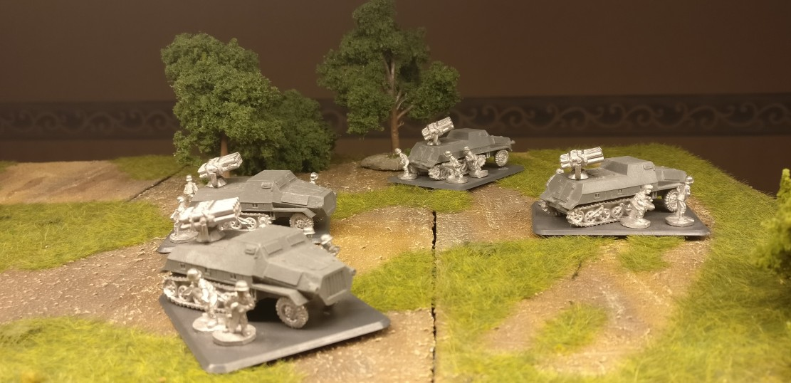 Flames of War Armoured Rocket Launcher Battery: vier Panzerwerfer 42 mit 15cm-Zehnfach-Werfer