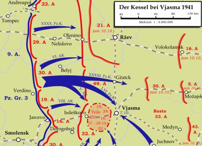 Auf Wikipedia fand ich diese Karte zur Schlacht bei Wjasma 1941, welche die Bewegungen der angesprochenen Einheiten ganz gut darstellt. Die Lagekarte zeigt in der Mitte die 31. Armee der Roten Armee ebenso wie die Panzergruppe 3 mit eihrem XXXXI. Panzerkorps und LVI. Panzerkorps, welchen die 7. Panzerdivision abwechselnd angehörte.
