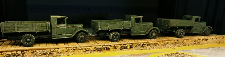 Die drei ZIS-5V nach der Überarbeitung.