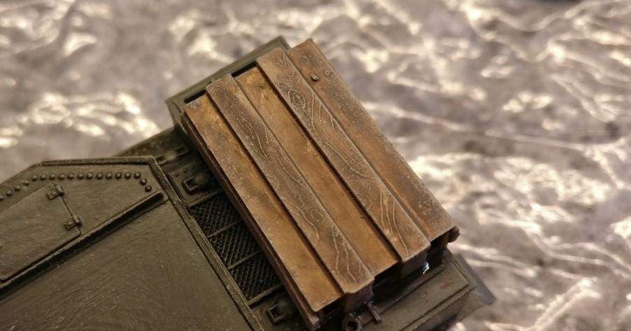 Hier der zweite Airfix M3 Grant. Die Lasur aus Lederbraun war hier etwas wässriger. Infolgedessen fällt auch das Holz  etwas heller aus.