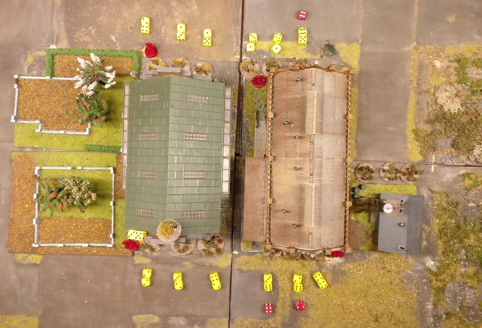 Vier Felder der zentralen Werkshallen wurden als Ziel deklariert. Alle vier Felder der Werkshallen werden vom Artillerieschlag getroffen.