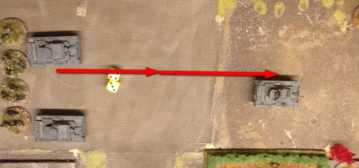 Mit seinen sieben APs (Aktivierungspunkten) bewegt sich der Panzer III zunächst zwei Squares nach Vorne.