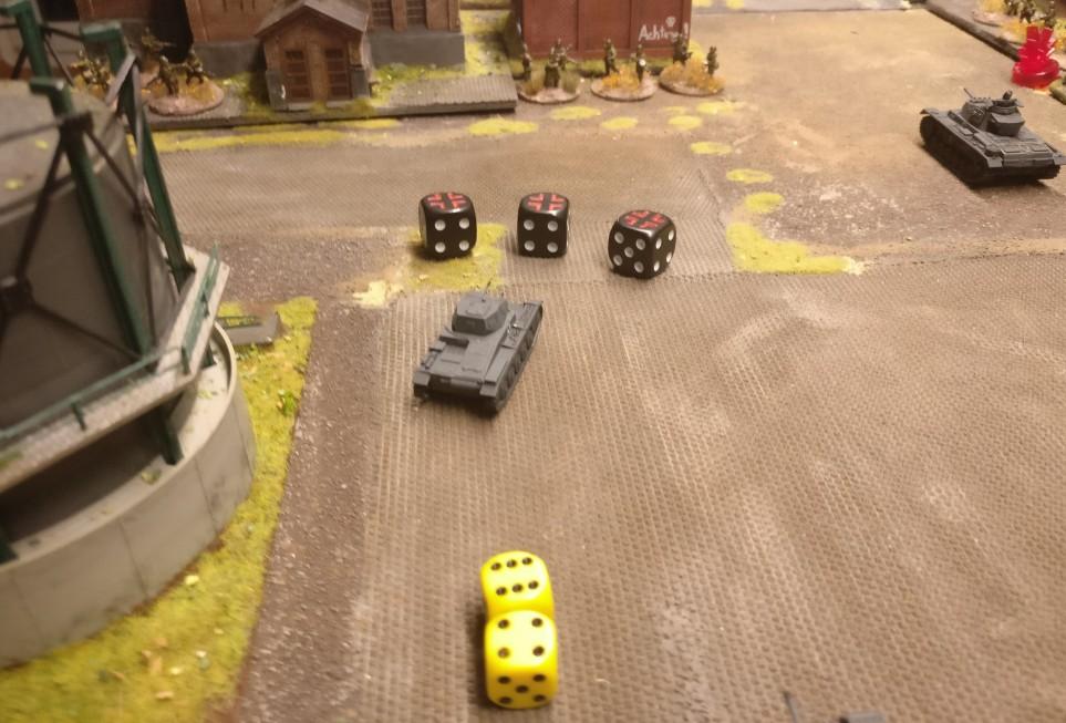 Der Panzer II verwendet 1 AP um ein Square weit vorzuziehen. Dann feuert er dreimal als MMG.