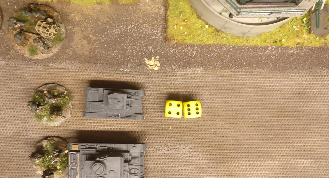 Mit zwei W6 Würfeln erwürfelt der Panzer II insgesamt 10 APs.
