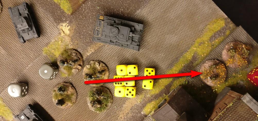 Jetzt schießt das LMG-Platoon auf das russisch besetzte Square.