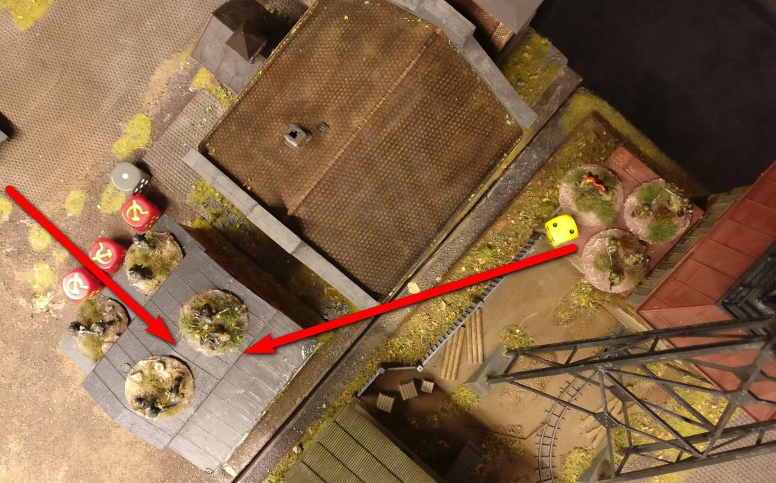 """Mit dem Besetzen des freien Squares im Heizhaus  fängt sich das LMG-Platoon aber Opportunity Shooting von den beiden russisch besetzten Squares der Förderanlage ein. Zumindest den Versuch. Der russische Platoon Commander scheitert mit einer """"2""""."""