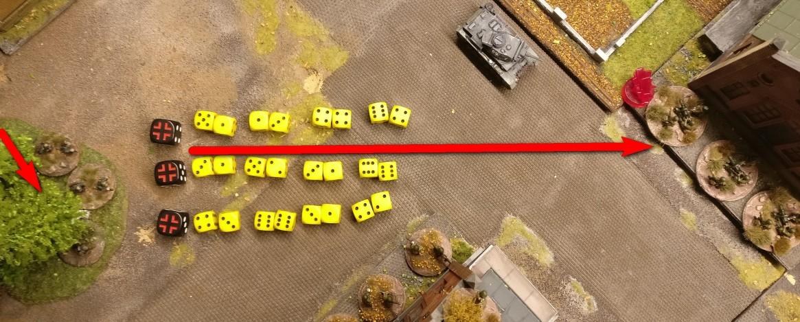 Hier der Feuerüberfall der LMG nach dem kurzen Sprint durch  den Wald. 24 Trefferwürfel werden verwendet. Pro LMG und pro Schuss sind es zwei W6 Würfel. Zusätzlich erhält jedes LMG nochmals 2 W6 Würfel.