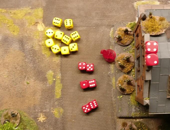 """Jede Foot Group im Square wird mit zwei Treffern bedacht, die gesaved werden müssen. Eine """"1"""" beim Saven legt fest: eine russische LMG Group muss vom Feld."""