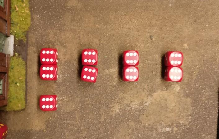 Die Trefferwürfel für die Defenders des Assault im Heizhaus.