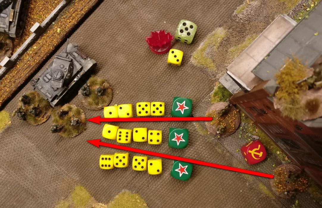 """Die Aktivierung ist mit einer """"5"""" erfolgreich. Eine """"4"""" hätte vom Nachbar-Closed-Square genügt. Mit den 3 APs wird 3x auf die Angreifer geschossen. 2 Foot Groups mit LMG sind noch vorhanden, so dass man 2 x 3 x 2 = 12 Trefferwürfel einsetzen kann."""