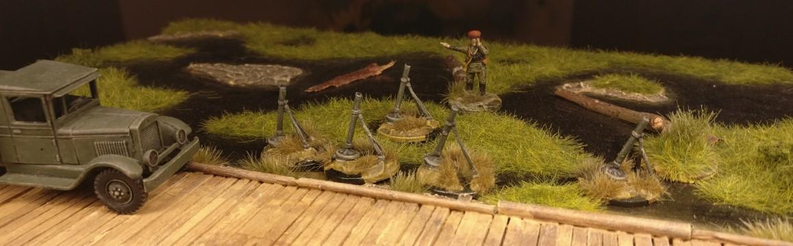 Platoon Commander Grigorij besichtigt die Granatwerfer. Er ist wie immer unzufrieden und recht ungehalten.
