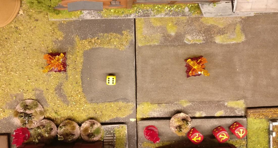 """Der Abweichungswurf von """"6"""" lässt den Beschossenen die beiden Zielkoordinaten an ein angrenzendes Square verschieben. Der Segen geht voll daneben!"""