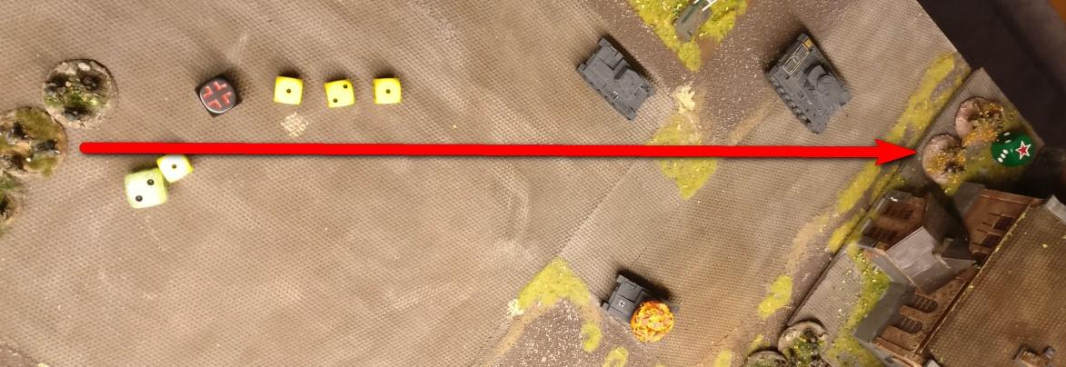 Das Square nutzt den stets verfügbaren 1 AP und schießt auf die Rotarmisten.