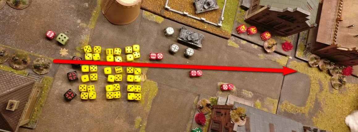 """Die LMG nehmen ein Square der Rotarmisten unter Feuer, welches mit vier Foot Groups  besetzt ist. Dieses Square gilt als """"clustered"""", was bedeutet, dass jedes LMG pro Schuss nicht 2, sondern 4 Trefferwürfel benutzen darf."""