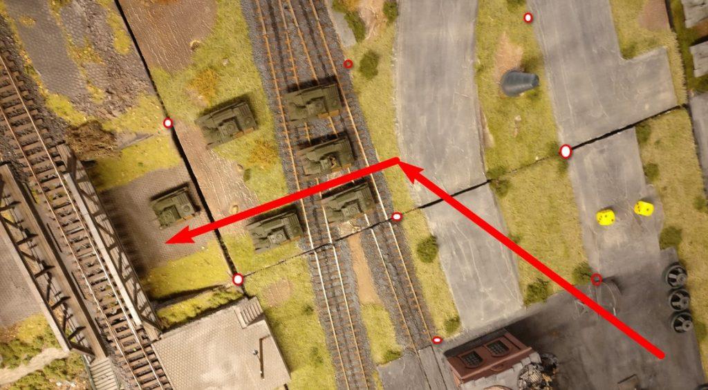2 AP für zwei diagonale Moves ( die Pfeile sitzen nicht ganz auf Eck) einmal für 1 AP 45° nach links drehen und das wars fürs Erste. Der vorderste T-70 war zu Beginn ein Square weiter.  So endet er jetzt auch ein Square weiter vorne.