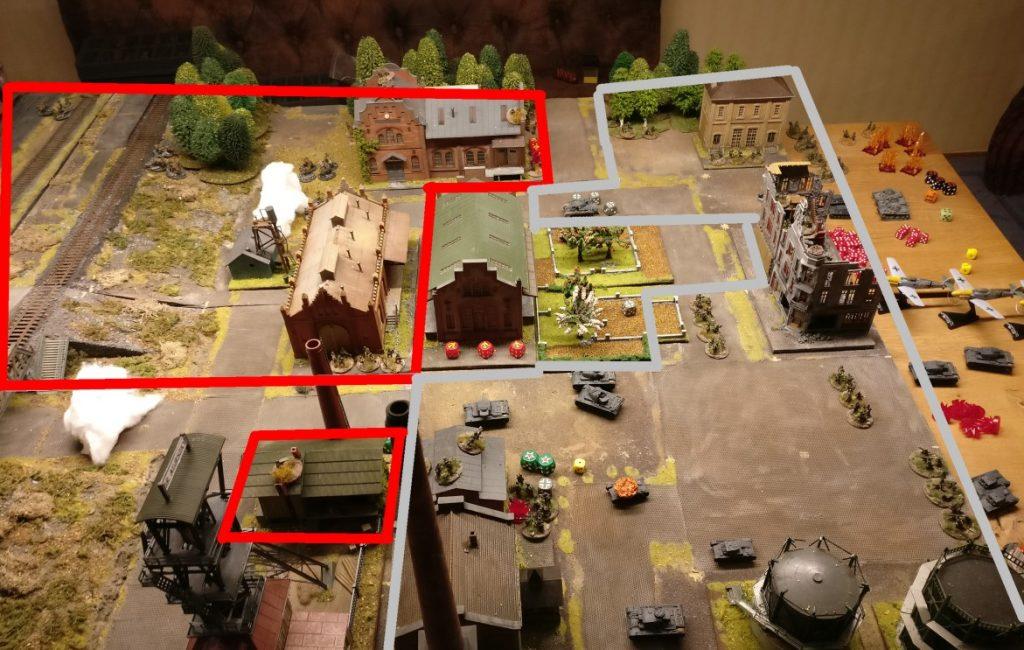 Hier der Frontverlauf. So richtig viel ging in diesem Zug nicht. Die T-70 sind noch nicht in Kontakt und die Infanterie der Roten Armee hat sich verflüchtigt oder konnte nur mit mäßiger Kraft schießen. Da wirft ein deutscher Sieg so langsam seine Schatten voraus.
