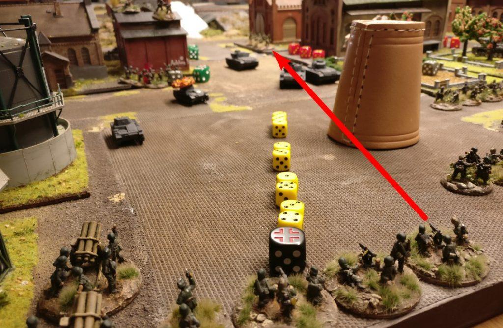 """Ganz hinten das Gebäude mit den frisch dorthin verlegten Rotarmisten haben die MG 42 zum Ziel. Jede MMG Foot Group bekommt für den einen Schuss 2 Trefferwürfel, dazu nochmal den Bonus """"for beeing a MMG""""."""