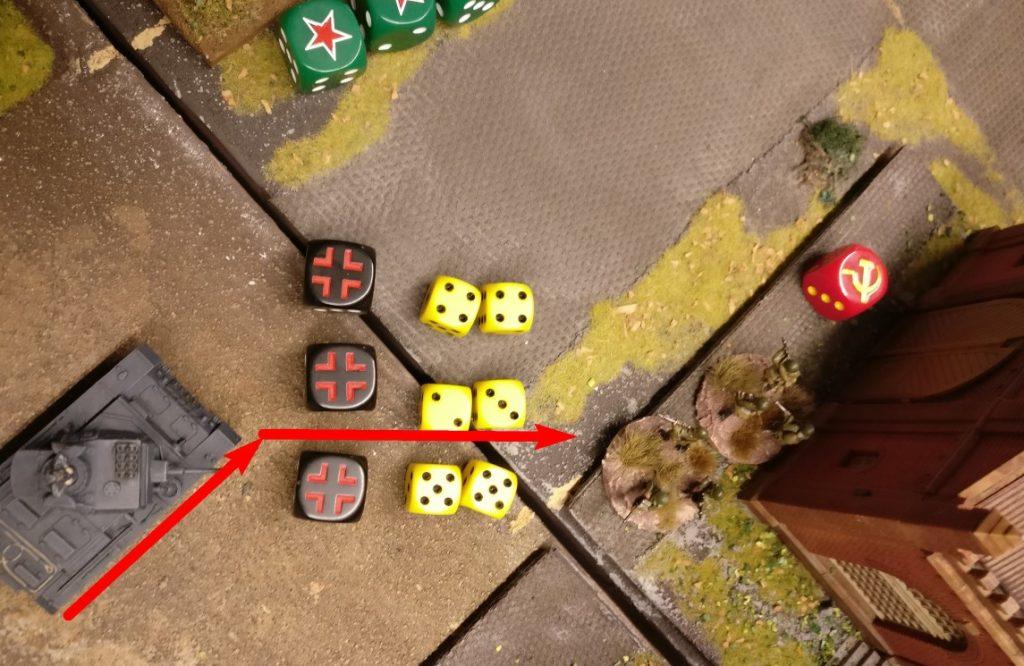 Man setzt vor bis zum Produktionsgebäude, welches gerade eben beschossen wurde und hält ebenfalls drauf. 3x MG-Feuer ergibt wieder 6 Trefferwürfel.