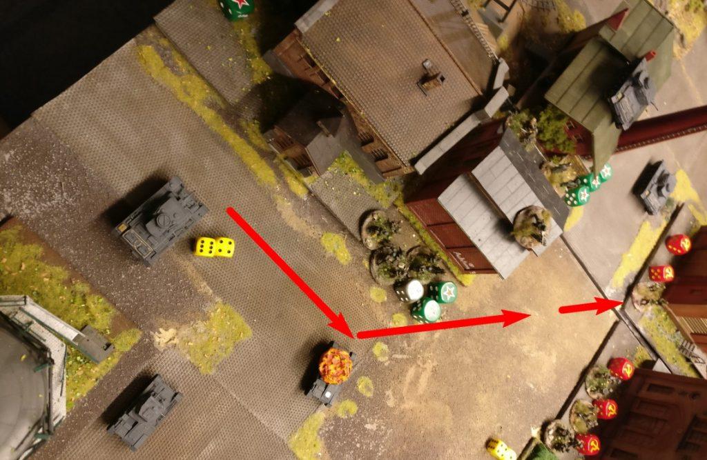 Der letzte Panzer III macht sich starklar. Mit 10 APs geht was. Allerdings ist der Anmarschweg auch gewaltig. Zweimal um 45° drehen, kostet bereits 2 AP. Dann nach einem Square Bewegung wieder nach links einschwenken erneut.