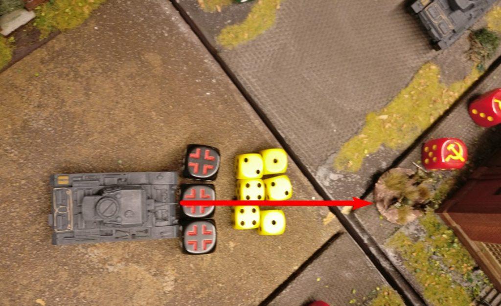 Man kommt vor der Lagerhalle an und rotzt raus, was geht. 6 Trefferwürfel für 3 MG-Schüsse können genutzt werden.