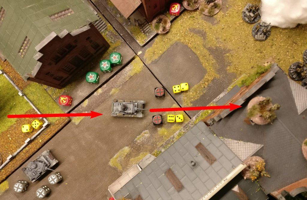 Der zweite Flammpanzer III dreht bei und rollt auf die Werksstraße Richtung Lagerhaus. Im hinteren Gebäudeteil sitzen die Rotarmisten dicht an dicht. Dort will er reinhalten.