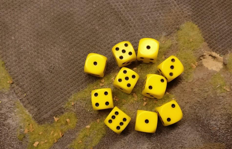 Aus den 10 Trefferwürfeln resultiert nur 1 Treffer. Doch der trifft eine jede Foot Group im Square, wie es bei Mörsern üblich ist.