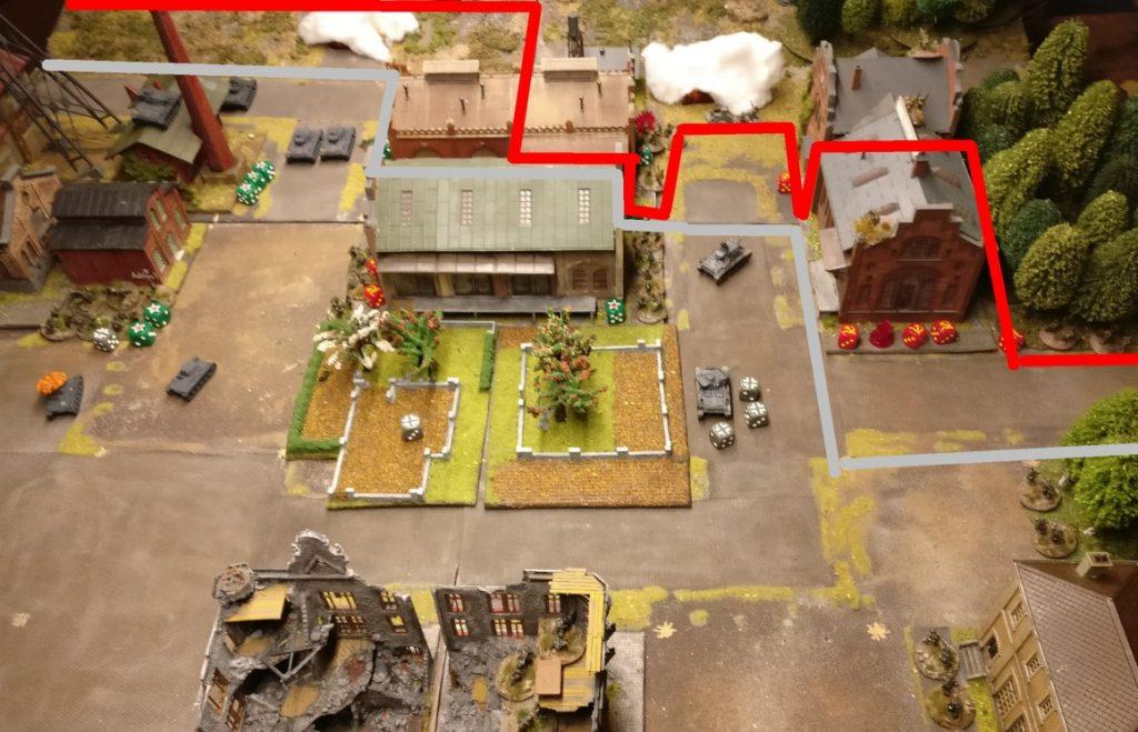 """Letzte Stellungen der Roten Armee  befinden sich nur noch in der Produktionshalle """"Nastrovje"""" ganz hinten und im hinteren Bereich des Lagerhauses."""