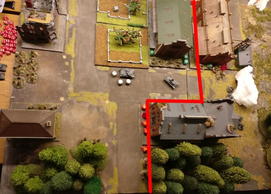 Zur Lage: in Rot der Frontverlauf am Lagerhaus.