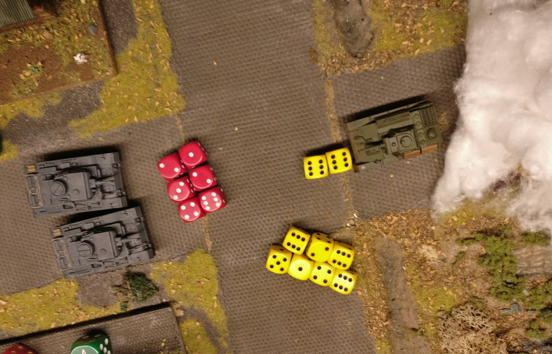 7 Armourwürfel treffen auf 6 Panzerungswürfel.