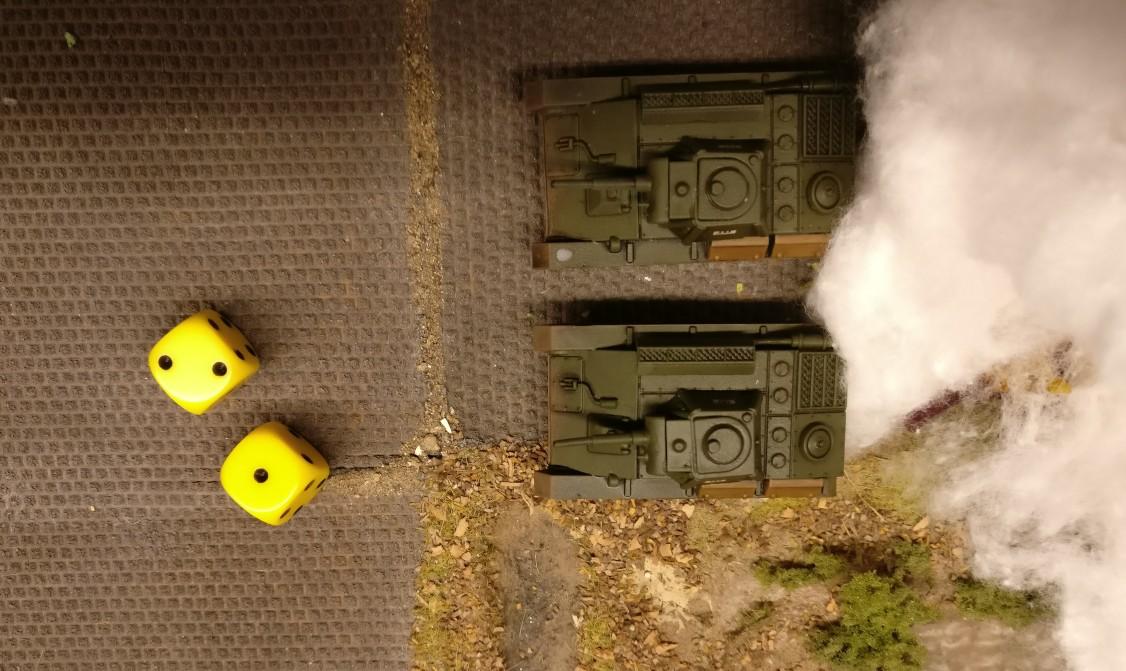 """Der T-70 schießt  ein zweites Mal für 4 APs, doch die erwürfelte """"3"""" schlägt erneut daneben."""