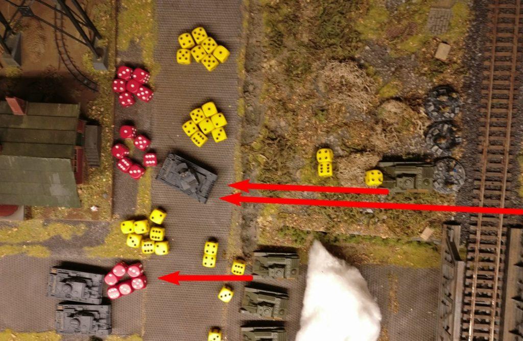 """Gelb sind die Trefferwürfe der T-70, rot die Panzerungswürfe der Panzer III. Alles ab einer """"3"""" trifft bzw. verteidigt."""