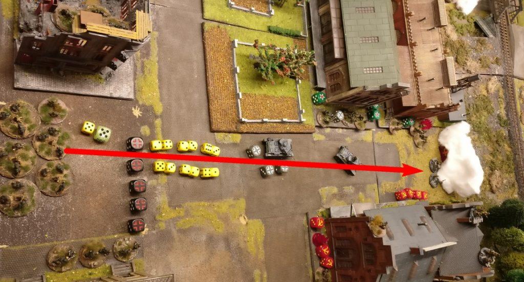 Zwei Granatwerfer feuern auf die Rotarmisten am Ende der Werksstraße.