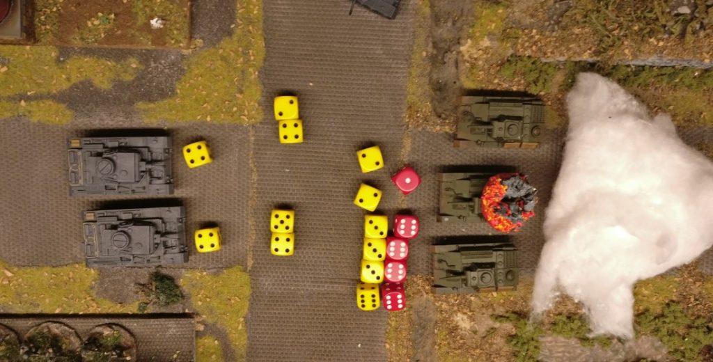 Der Treffer sitzt, doch erweist sich die Panzerung des T-70 als zu dick. Alle 4 Treffer-(Gun-)Effects werden von Armour-Effects gesaved.
