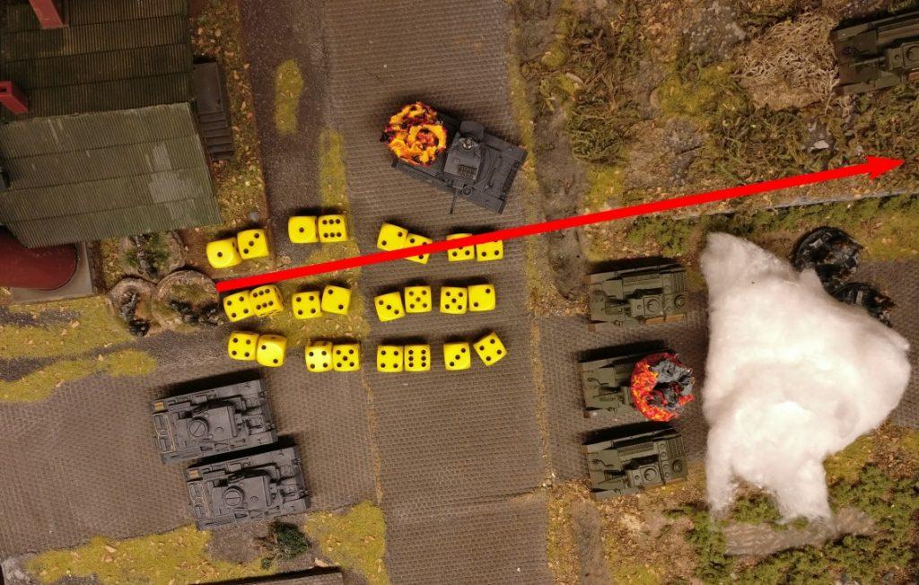 Und nehmen von hier aus die russischen Infanteriekräfte am Rande der Maschinenfabrik unter Feuer. (Hier leider nicht im Bild)