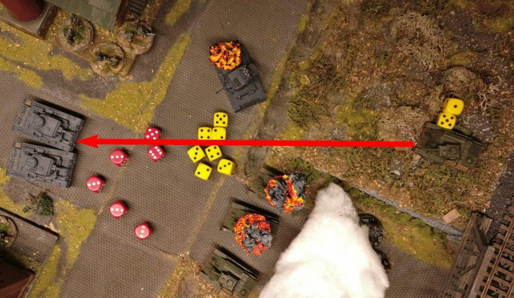 Trefferwurf ist erfolgreich und wieder nicht im Bild. 5 Gun Effekte gegen 6 Armour Effekte bedeutet: Gesaved.