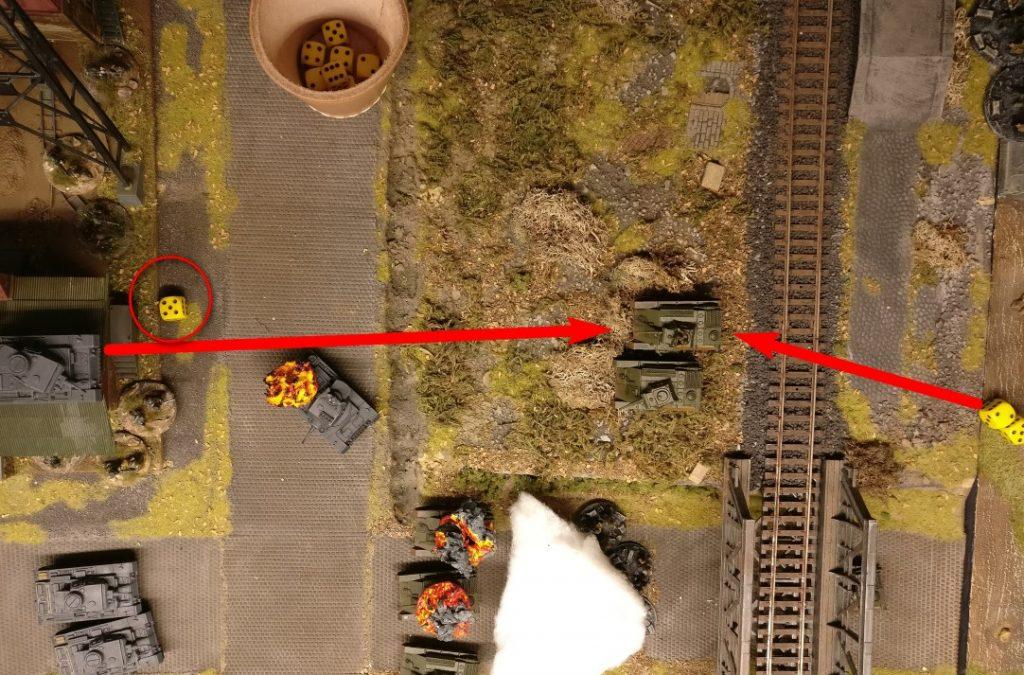 """Er zieht neben den Bruder. Hier darf erstmal einer der Panzer III Opportunity Shooting geben. Die """"5"""" erlaubt es ihm auch noch."""