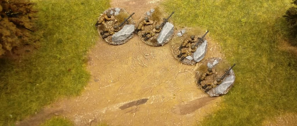 Die vier Foot Groups mit ihren PTRD Противотанковое ружьё Дегтярёва; / Degtjarjow-Panzergewehren aus dem Set 15mm WW2 Russian Infantry Heavy Weapons