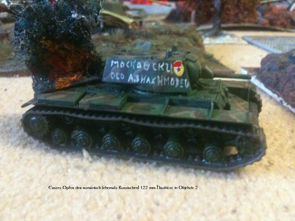 Diesen KV-I hat die Skoda 149-mm-Feldhaubitze M1914 gebröselt.