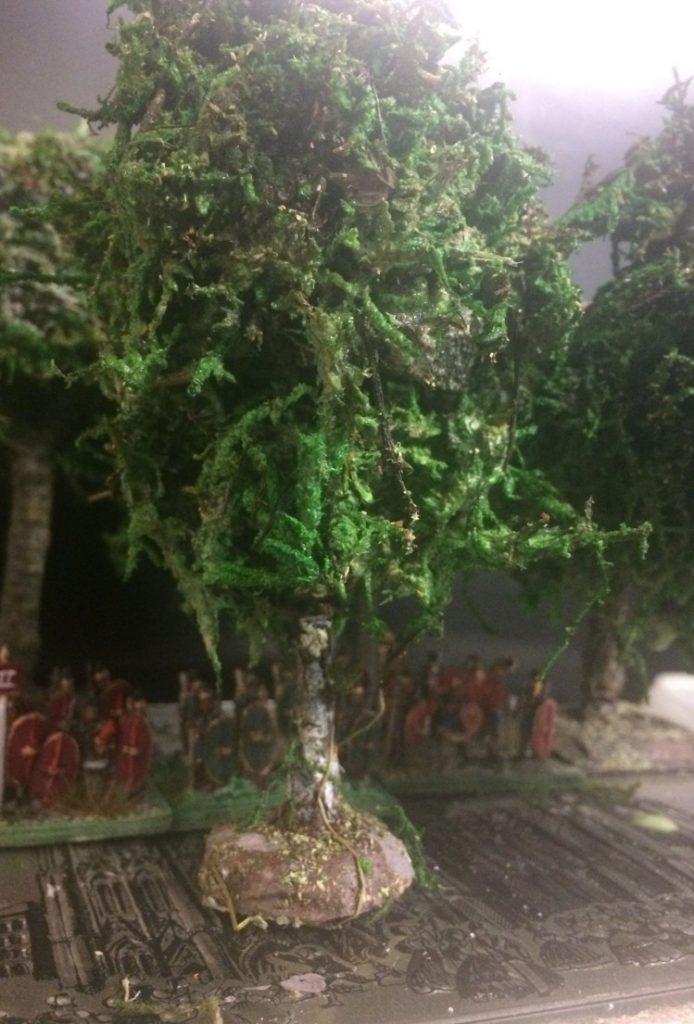 Die fertigen Birken für Finnland - Building battlefield scenery birch trees