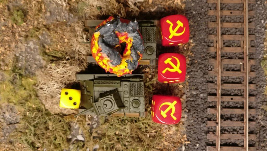 """Auch der T-70 auf dem Bahndamm versucht sich mit dem Opportunity Shooting. Mit der """"3"""" gibt es aber eine Fehlanzeige."""