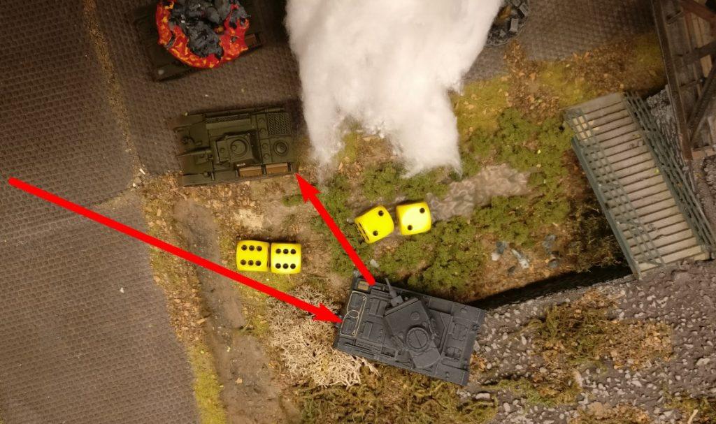 """Der Panzer III zieht vor, und packt den einen T-70 von der Seite. Für jeweils 4 AP feuert der Panzer III seine Hauptwaffe ab. Der Treffer-/Zielwurf mit """"6+6=12"""" ist ein Auto-Hit, der Wurf mit der """"2+2=4"""" ist ein Auto-Fail."""