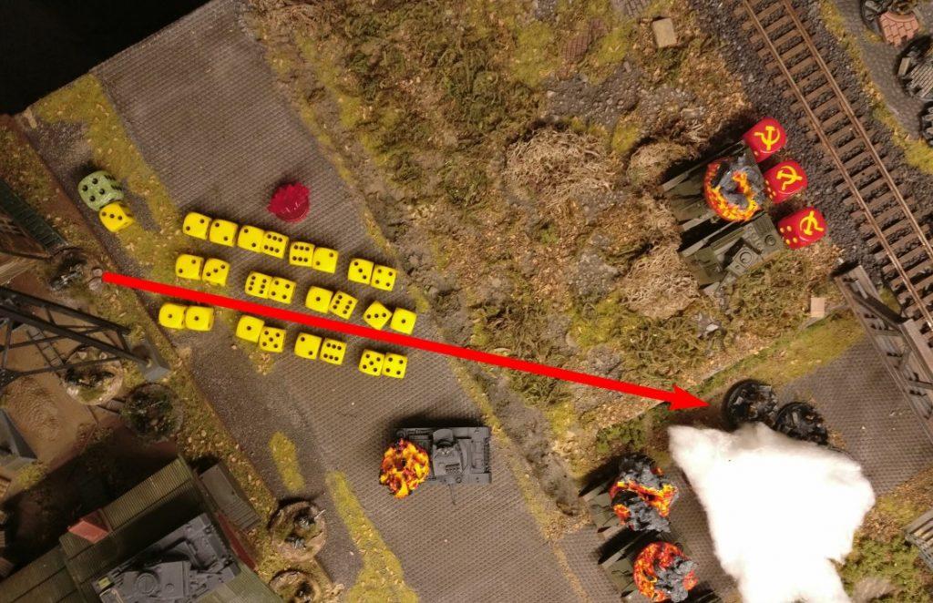 Maschinengewehrfeuer aus dem Betriebsgebäude! Mit 3 APs lässt das MG 34 seine Stimme erklingen. 24 Trefferwürfel stehen zur Verfügung.