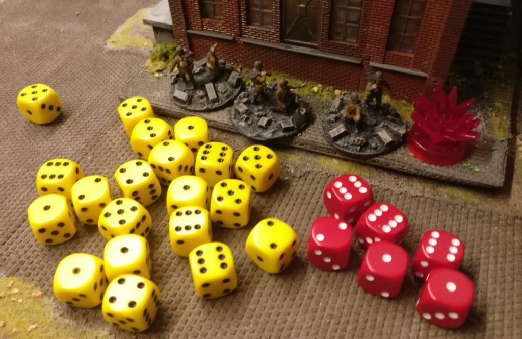"""Vier """"6""""er-Treffer bedeuten: das Square ist gepinned. Jede Foot Group im Square muss mit zwei Würfeln saven. Zwei der Foot Groups saven mit einem """"1""""er-Auto-Fail. Damit gibt es zwei Verluste."""