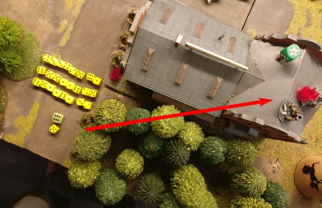 Mit 24 Trefferwürfeln geht es gegen das von Rotarmisten besetzte Square des Lagergebäudes.