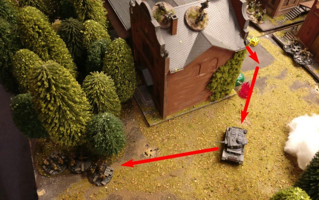 Der Flammpanzer III zieht um das Gebäude. Anmerkung: eine eigene Foot Group ist stets im Nachbar Sqaure, weswegen das Movement nur jeweils 1 AP kostet.