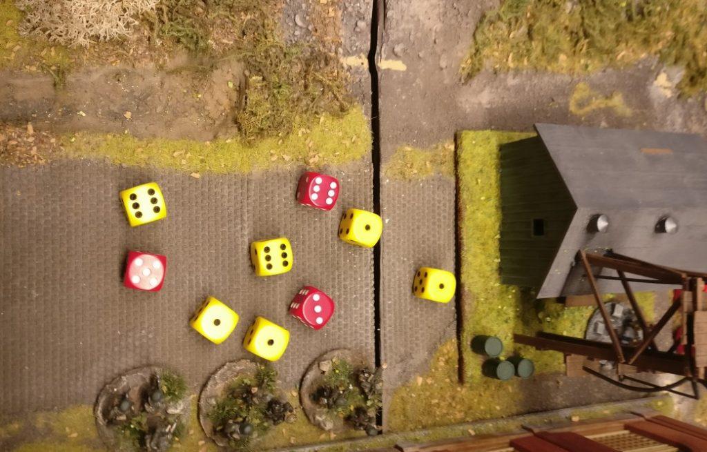 Der Angreifer erzielt 2 Treffer, der Verteidiger erzielt 1 Treffer. Die Verluste werden entfernt. Das Square ist jetzt deutsch besetzt.