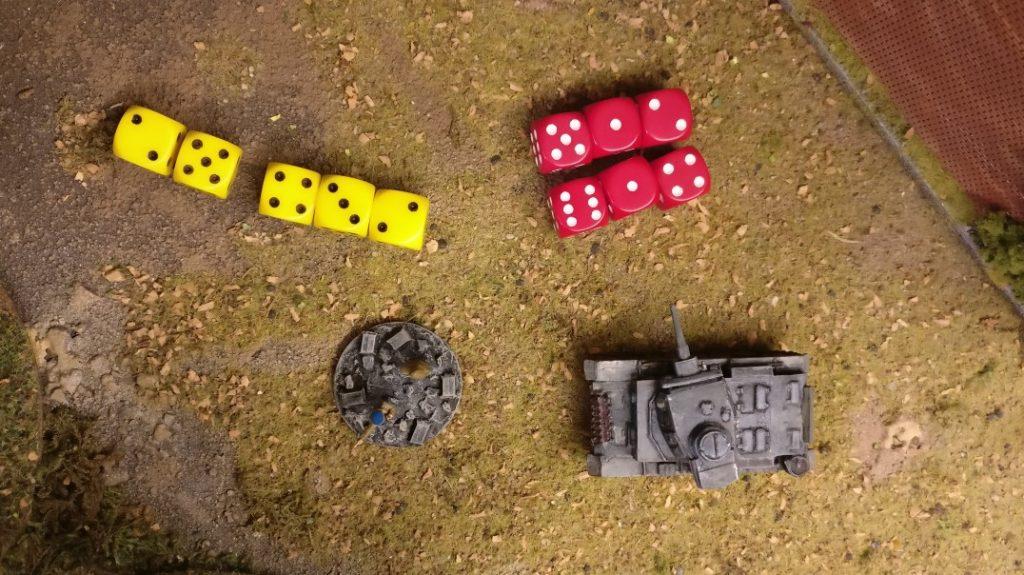 Der Attacker hat fünf Würfel, der Defender hat sechs Würfel.