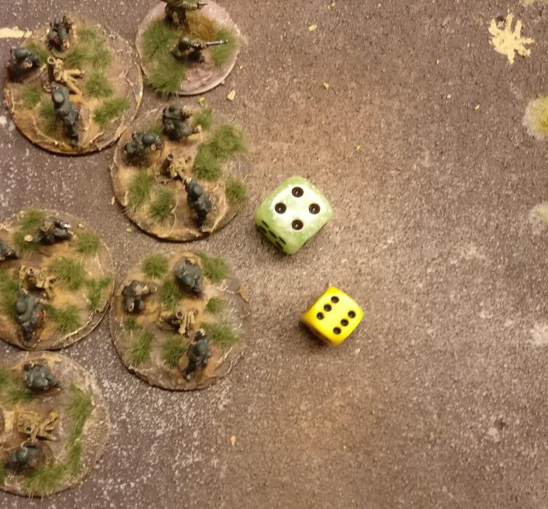 Die Mortar Foot Groups erhalten 6 APs. Damit bauen sie erstmal ab. (für 3 APs)