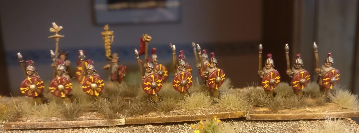 Einige der Blade Fast / Bd (F) für DBMM Lanciarii auf dem Truppenübungsplatz bei Mogontiacum.